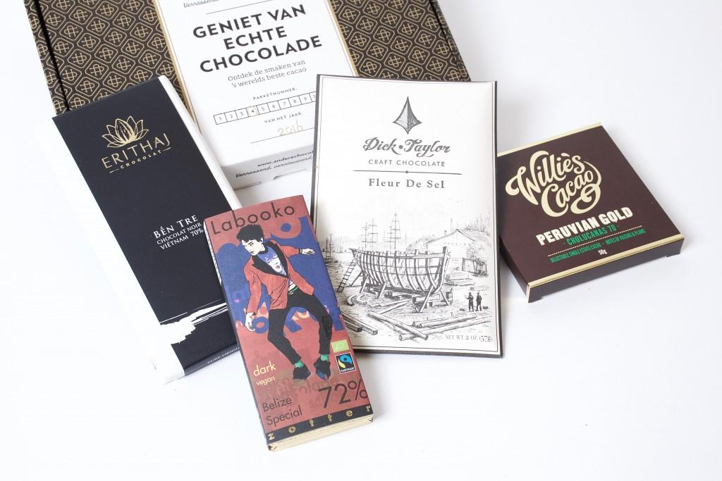 De crazy in love chocoladecadeaubox met 4 bijzondere bean to bar chocoladerepen